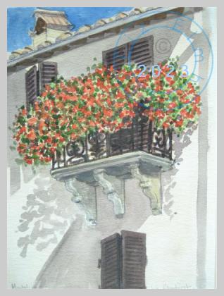 Italian balcony, Montalcino, Italy
