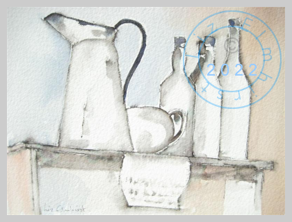 Enamel jug and bottles