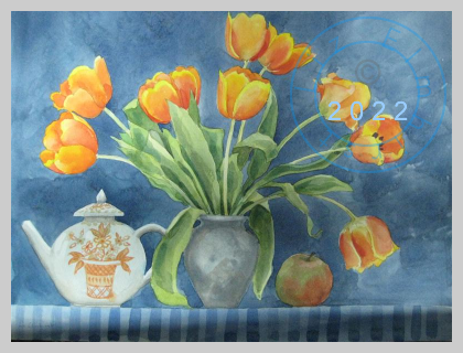 Orange tulips and a teapot
