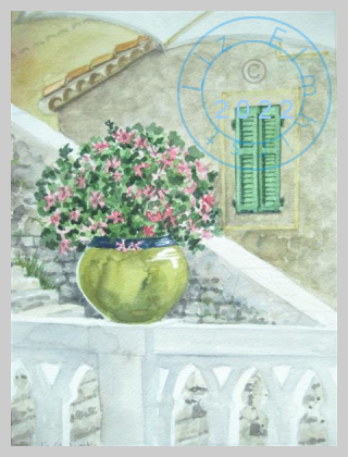 Pink flowers and green shutters