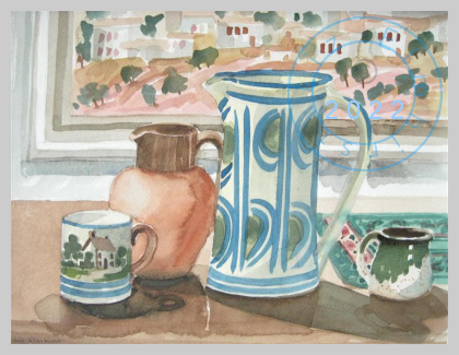 Still life  with jugs and painting