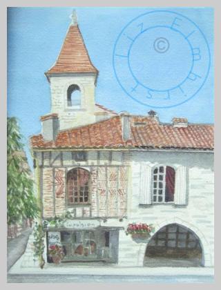 Village square, Tournons d'Agenais, France