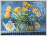 Orange tulips and a teapot