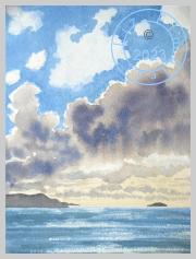 Rain clouds over the sea, Cornwall